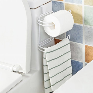 Multifunction Two-layer Door Back Iron Toilet Tissue Holder Bathroom Kitchen Paper Towel Organizer