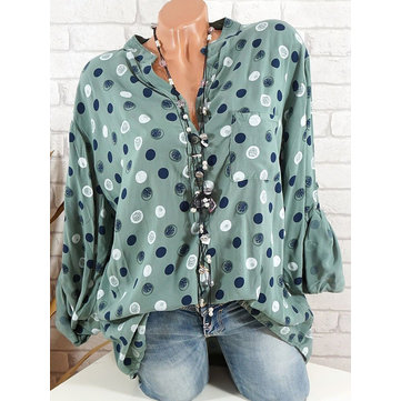 Plus Size Casual Stand Collar Polka Dot Shirts with Pocket