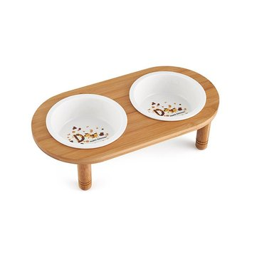 Ceramic/Stainless Steel Pet Bowl with Sturdy Bamboo Stand for Food and Water Bowls Pet Feeders Doubl