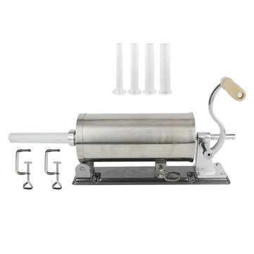 6L Horizontal Homemade Sausage Filler Maker Meat Stuffer Machine 304 Stainless Steel with Tube