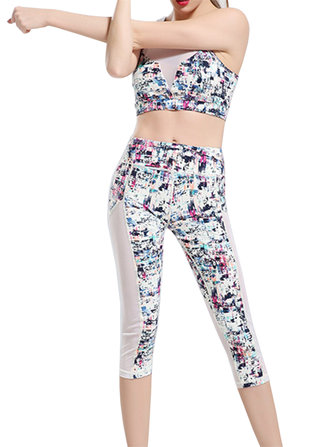 Women Colorful Printing Yoga Tracksuit Fitness Leggings Vest Bra Sport Suit