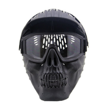 Skull Face Mask Halloween W/ Goggles For Military CS Airsoft Skull Paintball War Game