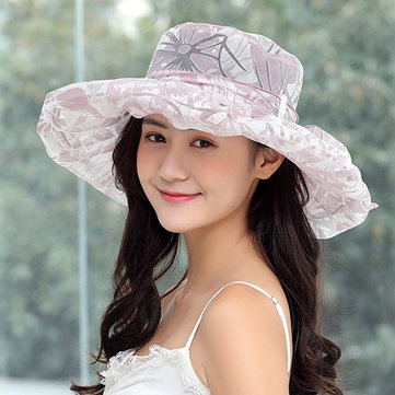 Women Breathable Wide Brim UV Protection Bucket Hat Vacation Beach Visor Sun Cap