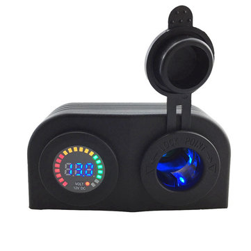 12V Digital Voltmeter Cigarette Lighter Sockets Colorful Screen Voltmeter