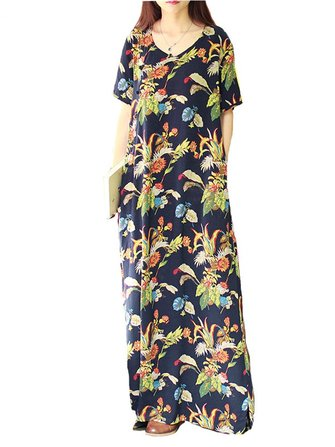 ZANZEA Women Casual Short Sleeve V-Neck Loose Floral Maxi Dresses