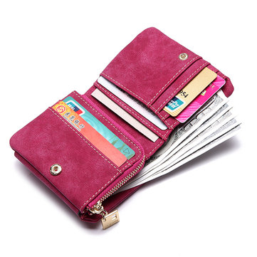 Women Matte Leather PU Short Wallet Elegant Clutches Purse Wallet