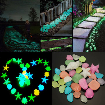 50pcs Glowing Artificial Pebbles Stones Garden Path Flower Pot Decor Landscape Noctilucent Stone