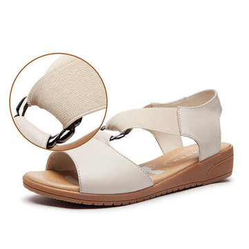 Genuine Leather Women Flat Outdoor Beach Soft Sandals