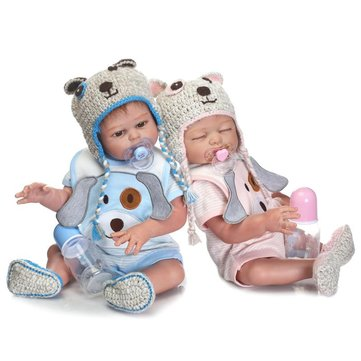 NPK 20inch Twins Reborn Baby Doll Silicone Lifelike Girl Doll Play House Toy