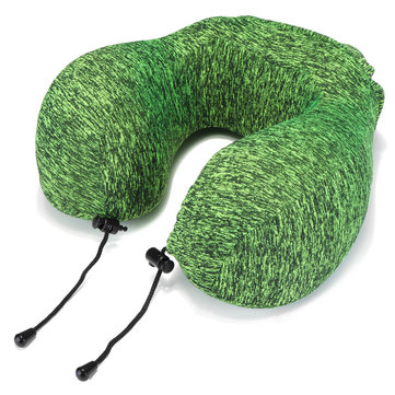 Honana Thickened Green Slow Rebound Memory Foam Neck Protection U Shape Pillow Storage Bag Travel Pillow