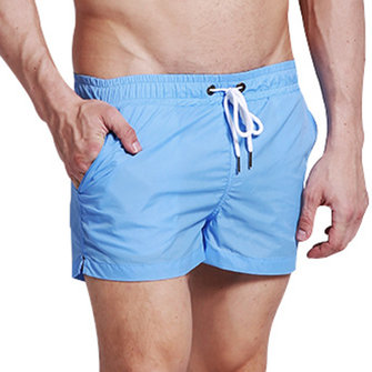 Mens Fashion Quick Drying Casual Sports Breathable Beach Shorts Loose Pockets Solid Color