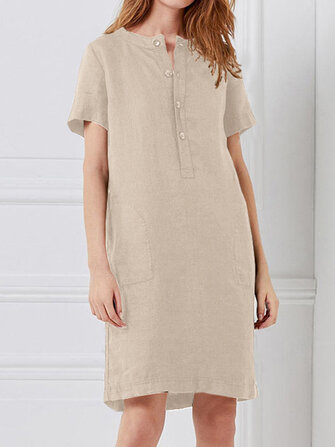 Women Loose Cotton Linen Short Sleeve Button Dress