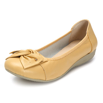 Large Size Pure Color Bowknot Slip On Casual Flat Shoes