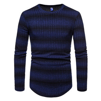 Men's Stripe Gradient Style Knit Breathable O-Neck Warm Sweaters Pullovers