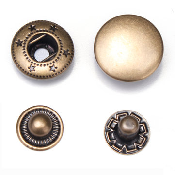 100Pcs 1.5cm Bronze Snap Fasteners Clasp Buttons Press Studs for Sewing Craft Clothes