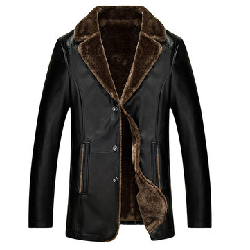 Mens Turn-down Collar Velvet Thick PU Leather Jacket Winter Warm Fashion Casual Coat