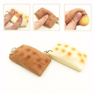 Brown Rice Cake Squishy Squeeze Stretch Stress Reliever Slowing Rising Toy Gift Phone Bag Strap