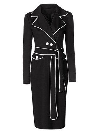 Elegant Patchwork Lapel Long Sleeve Button Belt Women Office Dress