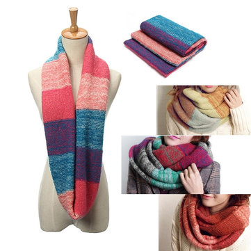 Women Ladies Thicken Mix Colors Ring Scarves Neck Shawl Two Circle Infinity Cowl Loop Scarf