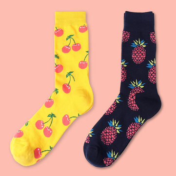 Women Cute Harajuku Fruit Print Middle Tube Socks Winter Cotton Warm Socks