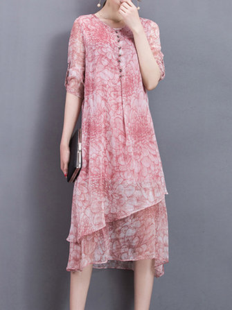 Floral Print Irregular Silk Dress