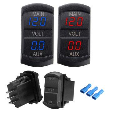 10-60V LED Dual Voltmeter Voltage Gauge Digital Panel Dashboard Car Boat Marine