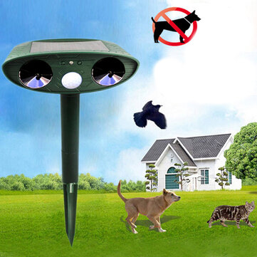 GreatHouse Ultrasonic Solar Power Cat Dog Animal Repeller Outdoor Garden Animal Scarer
