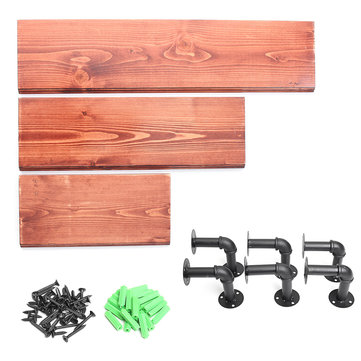 3Pcs 40+60+80cm Wooden Board Shelves Wall Mount Floating Shelf Display Bracket Waterproof Decor