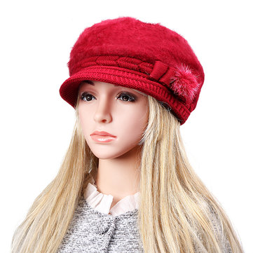 Women Knitted Crochet Beret Hat Artificial Rabbit Fur Beret Hats Winter Warm Bow-knot Elegant