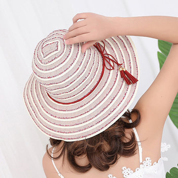 Summer Striped Wide Brim Sun Hat For Women Casual Folding Portable Bucket Cap