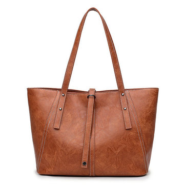 Women Vintage Pu Leather Tote Casual Handbag