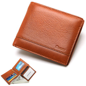 Men Vintage Fashion Genuine Leather Multi-slots 10 Card Slots Coin Zipper Pocket Trifold Wallet