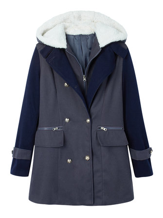Slim Casual Double Breasted Patchwork Hood Woolen Coat
