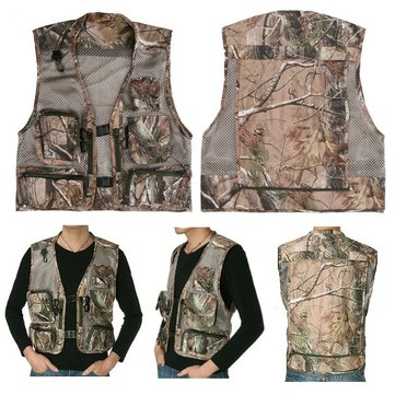 Men Fishing Vest Jacket Multi Pocket Outdoor Waistcoat Sleeveless