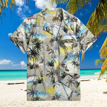 TWO-SIDED Hawaiian Style Coconut Tree Printing Loose Holiday Tropical Beach Skjortor för män
