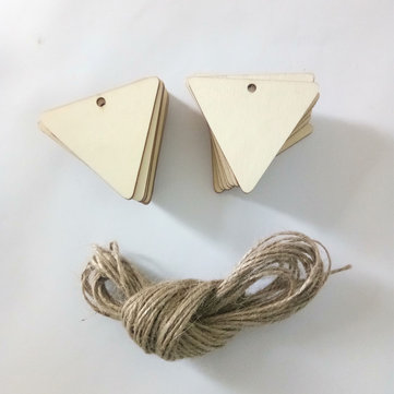 25Pcs Blank Triangle Wood Chips Sheet Hanging Tags Ornament Laser Engraving DIY Art Wedding Decor