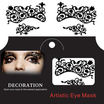 العين الوشم ملصق هالوين الدانتيل اسفنجي عيون اينر نقش شبكي تنكر بابيركوت الوجه المؤقت