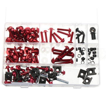 134pcs Red Motorcycle Fairing Screws Wind Shield Screws Body Fasteners Bolts Kit