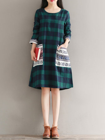 Casual Women Plaid O-Neck Long Sleeve Patch Pocket Dress
