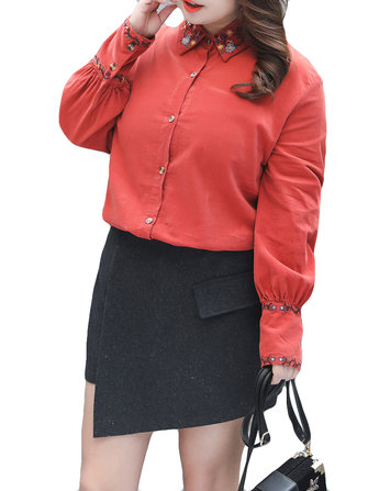 Plus Size Casual Women Embroidery Corduroy Blouse