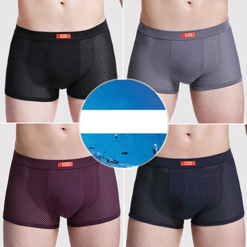 Mens 4 Pieces Soft Silky Mesh Breathable Boxer Briefs