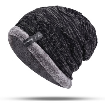 5bfff255b51 Mens Plus Velvet Knitted Stripe Beanie Hats Outdoor Winter Warm ...
