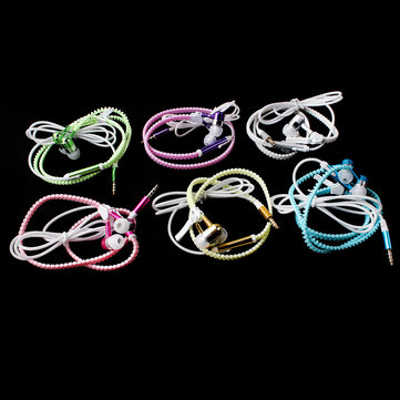 Glow In The Dark Zipper Metal Luminous Light Earphones Earbuds avec micro