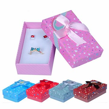 Mixed Color Ribbon Bowknot Heart Square Jewelry Packaging Box Case