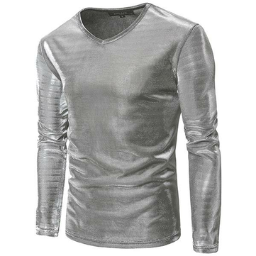 Mens Fashion Personalized Nightclub T-shirt Solid Color Bright Surface Long Sleeve Casual Tops Tees
