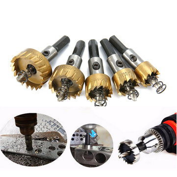 Drillpro 5pcs HSS 6542 Titanium Coated Hole Sawtooth HSS Hole Saw Cutter Drill Bit Set 16/18.5/20/25/30mm