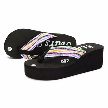 Women Platform Flip Flops Fashion Casual Sandals Slippers Beautiful Rainbow Shoes