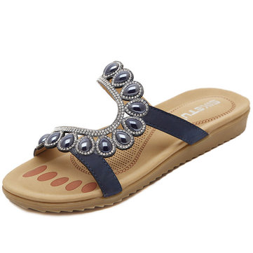 Bohemia Bead Peep Toe Casual Flat Sandals