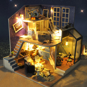 T-Yu DIY Wooden Miniature Doll house Kit A House Under The Starry Sky Music Light Furniture Romantic Gift Collection