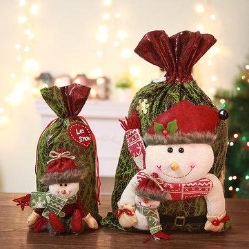 Christmas Snowman Elk Christmas Eve Gift Bag Candy Gift Bag Bucket Bag
